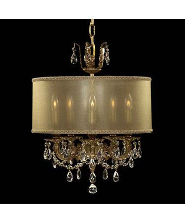Shown in French Gold Glossy Finish with Clear Precision Teardrop Crystal and Dark Copper shade